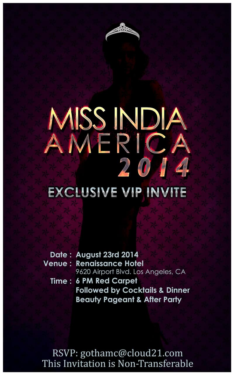 Miss India America 2014 Beauty Pageant Vip Invite Rsvp Cloud 21
