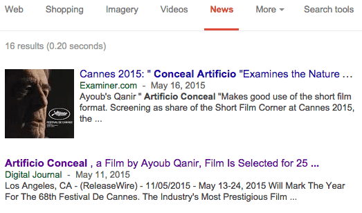 Short Film Corner at Cannes - Artificio conceal Google Search